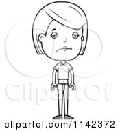 Cartoon Clipart Of A Black And White Brunette Adolescent Teenage Girl Vector Outlined Coloring Page