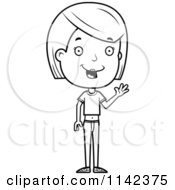 Cartoon Clipart Of A Black And White Friendly Adolescent Teenage Girl Waving Vector Outlined Coloring Page
