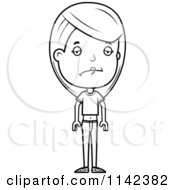 Cartoon Clipart Of A Black And White Sad Adolescent Teenage Girl Vector Outlined Coloring Page