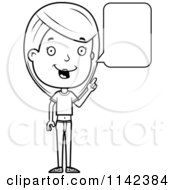 Cartoon Clipart Of A Black And White Adolescent Teenage Girl Talking Vector Outlined Coloring Page