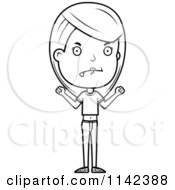 Cartoon Clipart Of A Black And White Mad Adolescent Teenage Girl Vector Outlined Coloring Page