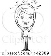 Cartoon Clipart Of A Black And White Drunk Adolescent Teenage Girl Vector Outlined Coloring Page