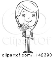 Cartoon Clipart Of A Black And White Adolescent Teenage Girl Holding Out Flowers Vector Outlined Coloring Page