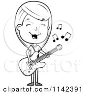 Cartoon Clipart Of A Black And White Adolescent Teenage Girl Playing A Guitar Vector Outlined Coloring Page