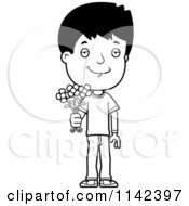 Cartoon Clipart Of A Black And White Adolescent Teenage Boy Holding Out Flowers Vector Outlined Coloring Page