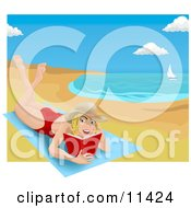 Woman Lying On A Beach Towel On A Beach And Reading A Book Clipart Illustration by AtStockIllustration