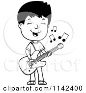 Cartoon Clipart Of A Black And White Adolescent Teenage Boy Playing A Guitar Vector Outlined Coloring Page