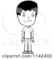 Cartoon Clipart Of A Black And White Depressed Adolescent Teenage Boy Vector Outlined Coloring Page