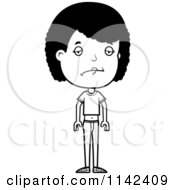 Cartoon Clipart Of A Black And White Depressed Adolescent Teenage Girl Vector Outlined Coloring Page