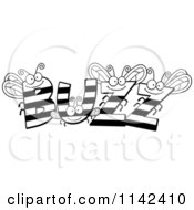 Cartoon Clipart Of Black And White BUZZ Bees Vector Outlined Coloring Page