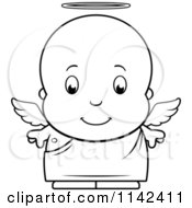 Cartoon Clipart Of A Black And White Cute Baby Boy Angel Vector Outlined Coloring Page by Cory Thoman