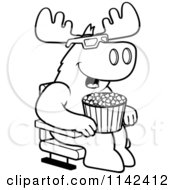 Cartoon Clipart Of A Black And White Moose Eating Popcorn And Watching A 3d Movie At The Theater Vector Outlined Coloring Page