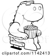 Cartoon Clipart Of A Black And White T Rex Eating Popcorn And Watching A 3d Movie At The Theater Vector Outlined Coloring Page