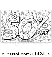 Cartoon Clipart Of A Black And White Happy 50 Percent Off Over Purple With Confetti Vector Outlined Coloring Page