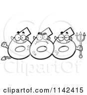 Cartoon Clipart Of A Black And White Three Number Six 666 Devils Vector Outlined Coloring Page