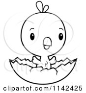 Cartoon Clipart Of A Black And White Cute Baby Chick Hatching Vector Outlined Coloring Page