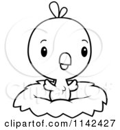 Cartoon Clipart Of A Black And White Cute Baby Chick In A Nest Vector Outlined Coloring Page