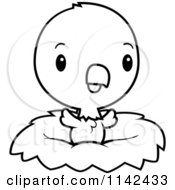 Cartoon Clipart Of A Black And White Cute Baby Bald American Eagle Chick In A Nest Vector Outlined Coloring Page