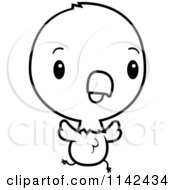 Cartoon Clipart Of A Black And White Cute Baby Bald American Eagle Chick Running Vector Outlined Coloring Page