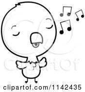 Cartoon Clipart Of A Black And White Cute Baby Bald American Eagle Chick Whistling Vector Outlined Coloring Page