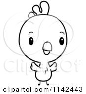 Cartoon Clipart Of A Black And White Cute Baby Rooster Chick Vector Outlined Coloring Page