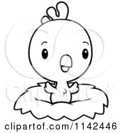 Cartoon Clipart Of A Black And White Cute Baby Rooster Chick In A Nest Vector Outlined Coloring Page
