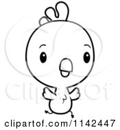 Cartoon Clipart Of A Black And White Cute Baby Rooster Chick Flying Vector Outlined Coloring Page