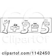 Cartoon Clipart Of Black And White One And Three Adding Up And Showing The Incorrect Answer Of Five Vector Outlined Coloring Page
