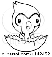 Cartoon Clipart Of A Black And White Cute Baby Bluejay Chick Hatching Vector Outlined Coloring Page