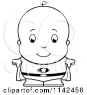 Cartoon Clipart Of A Black And White Cute Baby Boy Super Hero Vector Outlined Coloring Page by Cory Thoman