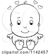 Cartoon Clipart Of A Black And White Cute Baby Sitting Naked Vector Outlined Coloring Page by Cory Thoman