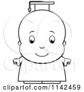 Cartoon Clipart Of A Black And White Cute Baby Boy Professor Or Graduate Vector Outlined Coloring Page