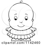 Cartoon Clipart Of A Black And White Cute Ballerina Baby Girl In A Tutu Vector Outlined Coloring Page
