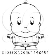 Cartoon Clipart Of A Black And White Cute Baby Boy In Tighty Whities Vector Outlined Coloring Page