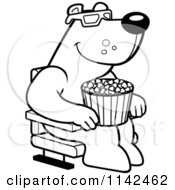 Cartoon Clipart Of A Black And White Bear Eating Popcorn And Watching A 3d Movie At The Theater Vector Outlined Coloring Page