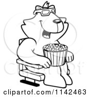 Cartoon Clipart Of A Black And White Cat Eating Popcorn And Watching A 3d Movie At The Theater Vector Outlined Coloring Page