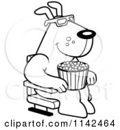 Cartoon Clipart Of A Black And White Dog Eating Popcorn And Watching A 3d Movie At The Theater Vector Outlined Coloring Page
