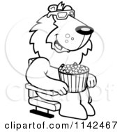 Cartoon Clipart Of A Black And White Lion Eating Popcorn And Watching A 3d Movie At The Theater Vector Outlined Coloring Page