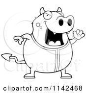 Cartoon Clipart Of A Black And White Chubby Devil Waving In His Pajamas Vector Outlined Coloring Page