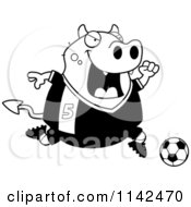 Cartoon Clipart Of A Black And White Chubby Devil Playing Soccer Vector Outlined Coloring Page