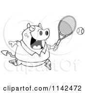 Cartoon Clipart Of A Black And White Chubby Devil Playing Tennis Vector Outlined Coloring Page