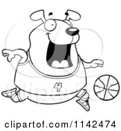 Cartoon Clipart Of A Black And White Chubby Dog Playing Basketball Vector Outlined Coloring Page