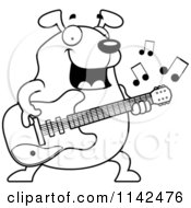 Cartoon Clipart Of A Black And White Chubby Dog Guitarist Vector Outlined Coloring Page