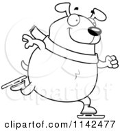 Cartoon Clipart Of A Black And White Chubby Dog Ice Skating Vector Outlined Coloring Page