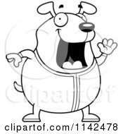 Cartoon Clipart Of A Black And White Chubby Dog Waving In Pajamas Vector Outlined Coloring Page