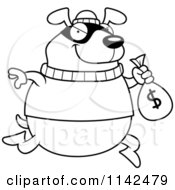 Black And White Dog Robbing A Bank