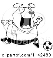Cartoon Clipart Of A Black And White Chubby Dog Playing Soccer Vector Outlined Coloring Page