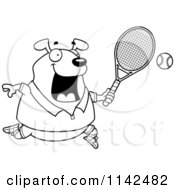 Cartoon Clipart Of A Black And White Chubby Dog Playing Tennis Vector Outlined Coloring Page