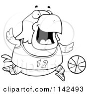 Cartoon Clipart Of A Black And White Chubby Bald Eagle Playing Basketball Vector Outlined Coloring Page
