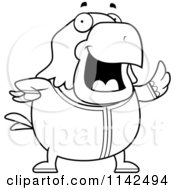 Cartoon Clipart Of A Black And White Chubby Bald Eagle Waving In Pajamas Vector Outlined Coloring Page